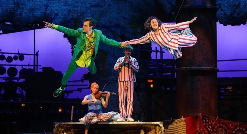 Peter Pan (Paul Hilton) and Wendy (Madeleine Worrall) in Peter Pan