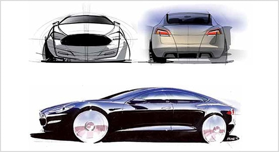 Tesla car renderings