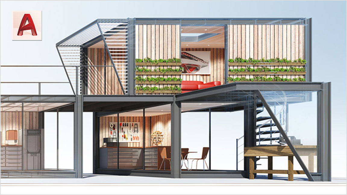A 2D CAD model of a modern two-story structure with three rooms including an office, workshop, and living space.