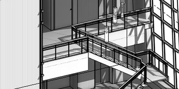 Visualizzazione 3D di un corridoio e di una scala