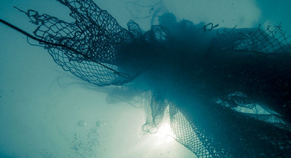 Recyclable fishing nets floating in the sea