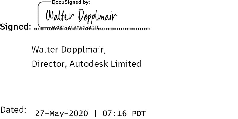 Signature of Autodesk Limited Director