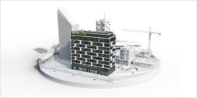 Computer rendering of multiple buildings