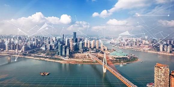 Computer rendering of futuristic city
