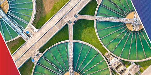 Water collection tanks seen from above