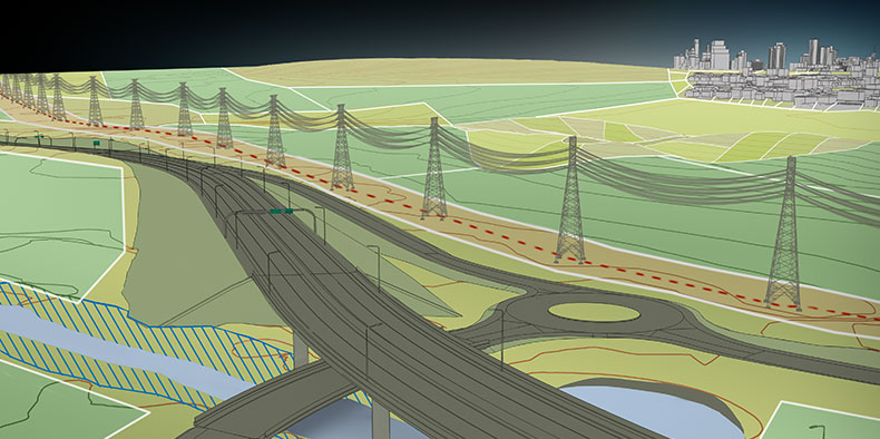 Computer rendering of an infrastructure model including a roadway