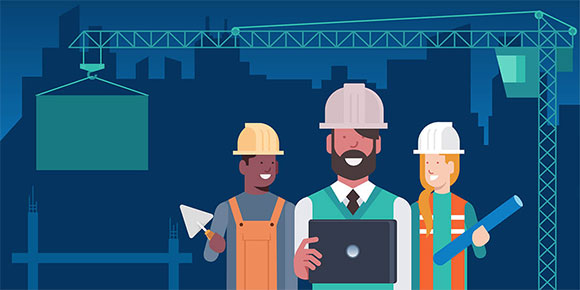 Illustration of three construction workers at a job site