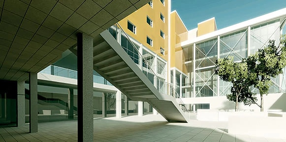 Exterior concrete staircase leading to courtyard in an office complex