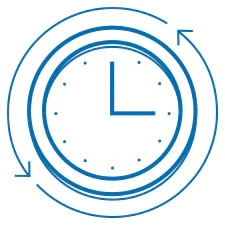 Analog clock with arrows indicating repetition