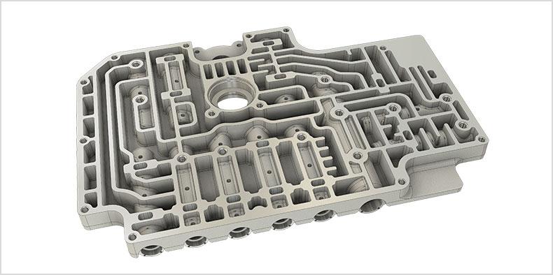CAD representation of a valve body